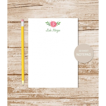 personalized watercolor rose notepad
