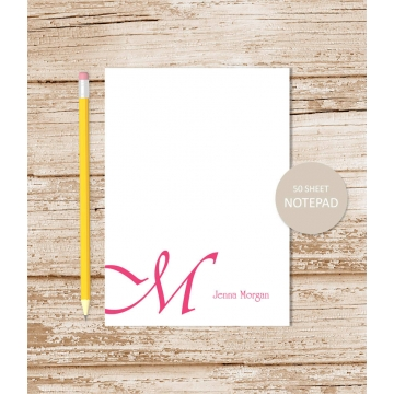 cursive initial personalized notepad