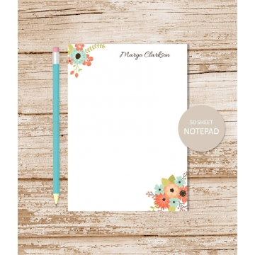 personalized floral corners notepad