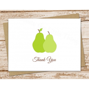 Pear Thank You Card Set