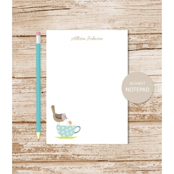 personalized tea cup birdy notepad