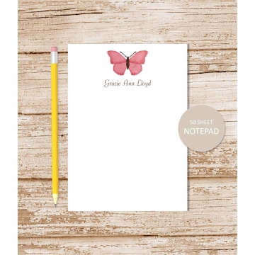 personalized pink butterfly notepad