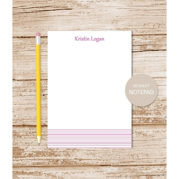 personalized bottom stripes notepad