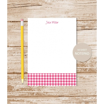 personalized gingham notepad