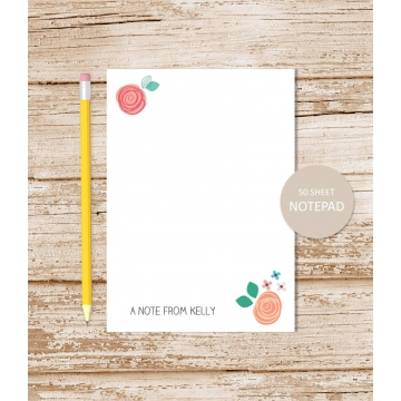 personalized floral whimsy notepad