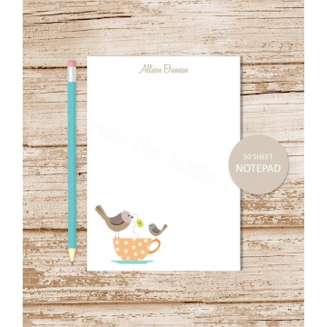 tea cup birds personalized notepad