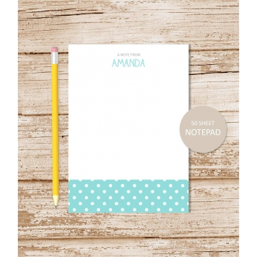 polka dots personalized notepad