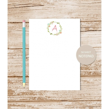personalized floral initial notepad