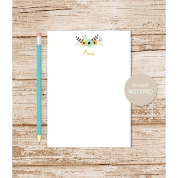 personalized floral notepad