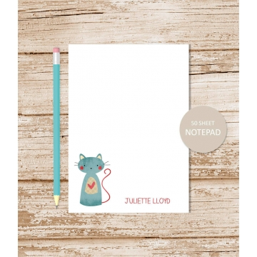 personalized patchwork cat notepad