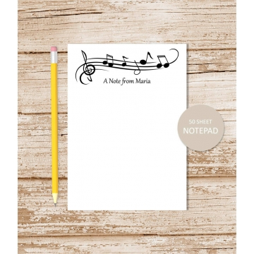 personalized music notes notepad