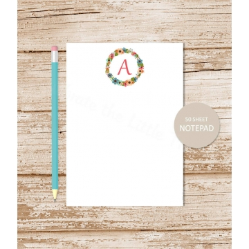 floral wreath initial personalized notepad