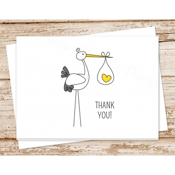 Stork Baby Thank You Card Set