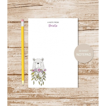 personalized bear with flowers notepad