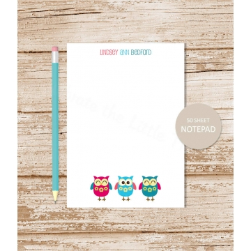 owl trio personalized notepad