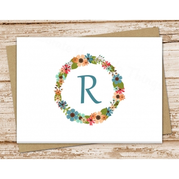 Monogram Wreath Personalized Stationery