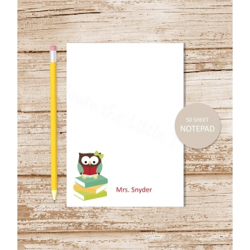 personalized owl teacher notepad