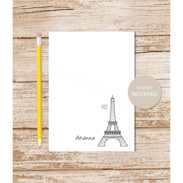eiffel tower personalized notepad