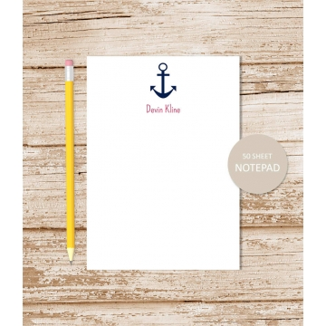 personalized nautical anchor notepad