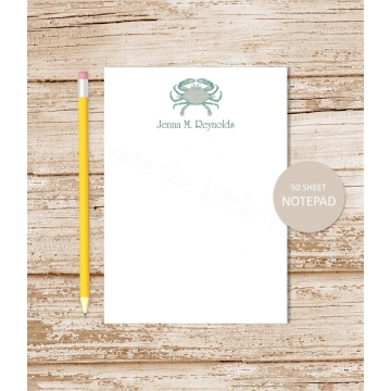 blue crab personalized note pad