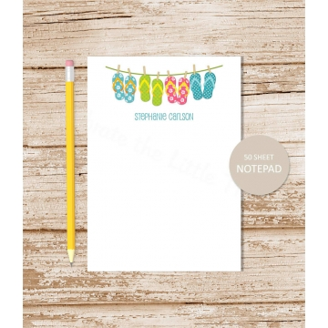 flip flops clotheseline personalized notepad
