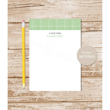 Personalized Plaid Border Notepad