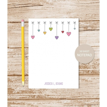 Personalized Hearts Bows Border Notepad