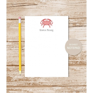 Personalized Red Watercolor Crab Notepad