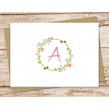 Floral Wreath Initial | Personalized Stationery